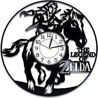 Kovides 视频游戏手工时钟 塞尔达传说生日礼物创意游戏家 Zelda 乙烯基时钟 30.48 cm 男式 Zelda 乙烯基唱片挂钟 视频游戏 原创家居装饰