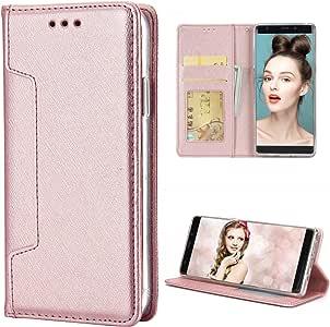 Galaxy Note 8 手机壳,Crosspace Galaxy Note 8 钱包式手机壳闪亮粉色皮革复古翻盖二合一经典保护磁性可拆卸外壳带信用卡夹适用于 Galaxy Note 8 - 玫瑰金4336651798 Note 8-Rose Gold