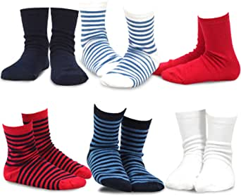 Naartjie Boy's Cotton Bright Stripes & Solids Crew Socks 6 Pack 多色 3-5