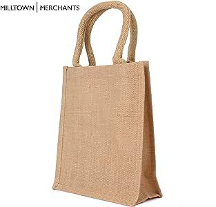 黄麻粗麻布手提袋 - 带棉质提手的天然粗麻布袋 - 可重复使用的带层压内部手提袋 - 购物袋/杂货袋/礼品袋 米色 小号