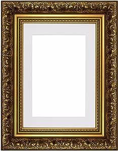 "*盒法国巴洛克风格带镶嵌华丽的清扫复古风格相框/相框/海报框架 - M-Fr-Baroque-Parent Gold Frame With White Mount 14""x11"" for 10""x8"" pictures m-Fr-Baroque-Gld-WHT-14-11-1"