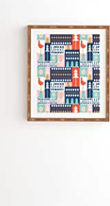 "Deny Designs Heather Dutton Christmas Collage Chill 加框艺术品 竹子色 11"" x 13"" 51797-frwa02"