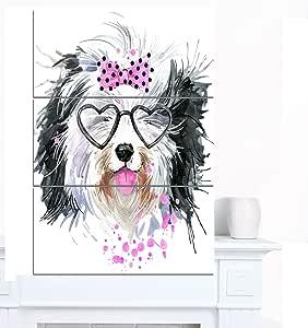 """心形眼镜的可爱狗 现代动物艺术帆布 28x36"""" - 3 Panels PT13239-3PV"""