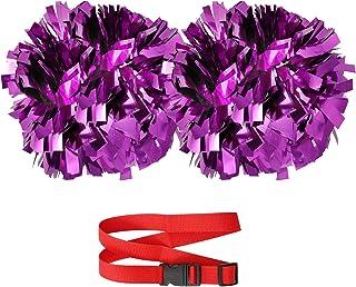EcoNut Cheerleading 绒球带指挥棒手柄和肩带支架 | 15.24 cm 尺寸 | 金属鲜艳色彩 全蓬松 | 适用于啦队队运动舞蹈团队 | 3 件装
