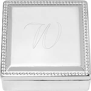 Cathy's Concepts 个性化方形珠宝盒 银色 1884-W
