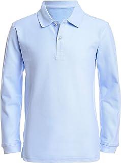 Nautica 男童制服长袖珠地布 Polo 衫