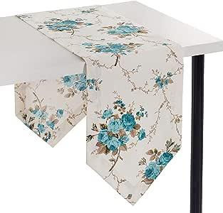 Astrea 纺织品矩形桌布 厨房用餐庭院花园桌面装饰棉和涤纶混纺矩形圆形方形桌布 室内/室外 多种颜色 13x120 Runner