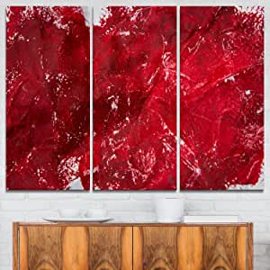 Designart 抽象红色纹理抽象金属壁画-MT6514-48x28-4 面板