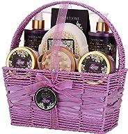 女士水疗礼品篮,沐浴和身体礼品套装,奢华 8 件套,百合花和淡紫色香味,母亲节、生日、圣诞节的*佳礼物
