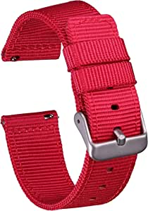 GadgetWraps 尼龙快速释放手表腕带 - 五种尺寸(14mm、16mm、18mm、20mm、22mm)- 六种颜色选择 - 北约风格两件套尼龙表带LYSB06Y3YCLXL-SPRTSEQIP 16 mm 深红色