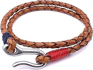 男式编织皮革双缠绕坚固的航海风格浅棕色美国手工制作