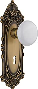 Nostalgic Warehouse VICWHI-41-AB Victorian Plate with White Porcelain Knob and Keyhole, Complete Privacy Set, Antique Brass