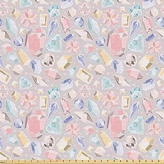 Ambesonne Pastel 面料按码计算,彩色钻石宝石丰富女性时尚主题数码印花,弹力针织面料适合服装缝纫和工艺品,2 码,柔和椰子色