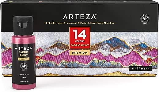 Arteza 永久织物油漆,60 毫升瓶装,14 种金属色,可用于洗衣机和烘干机,织物油漆可用于衣服、T 恤、牛仔裤、包、鞋子、DIY 项目和帆布