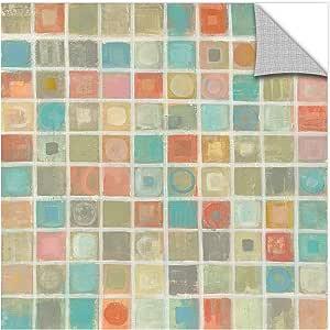 "ArtWall 2vas052a1818p ""Silvia Vassileva's Sea Glass Mosaic"" Removable Wall Art Mural, 18"" x 18"""