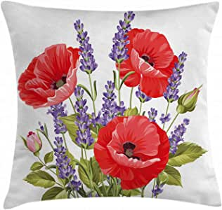 Lavender Throw Pillow Cushion Cover by Ambesonne, Bunch of Lavender and Poppy Flowers Fresh Rustic Botanical Bouquet, Decorative Square Accent Pillow Case, 18 X 18 Inches, Red Violet Olive Green