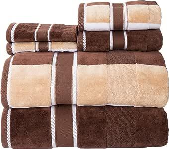 Bedford Home 100Percent Cotton Oakville Velour 6Piece Towel Set - Chocolate