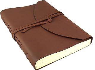 大号真皮传统日志/素描本带礼品盒 - 400 页 - 22.86 厘米 x 30.48 厘米 - 深棕色