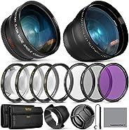 55MM Vivitar 基本鏡頭和濾鏡配件套件,適用于 Nikon AF-P DX 18-55mm 和部分索尼鏡頭 - 套裝包含廣角和長焦鏡頭、過濾套件。