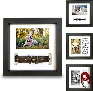 Pawceptive 宠物纪念相框,带有 3 种显示选项,用于狗狗或猫咪丢失 - 项圈安装,*挂钩或爱*留言 - 同情纪念品照片礼物,适合给哀悼主人