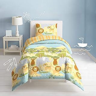 Dream FACTORY Safari 动物柔软纯棉被套套装,* * Full/Queen 2D8706C3GR