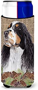 Caroline's Treasures SC9048-Parent Springer Spaniel *饮料保温器适用于小型罐 SC9048MUK,多色 多种颜色 Slim SC9048MUK
