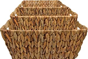 theHOMEmind 竹自然编织矩形水洗篮 | 柳条编织篮 | 现代农舍装饰 | 波西米亚家居装饰 | 厨房和浴室配件收纳袋 | 储物篮 3件套