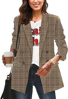 LookbookStore 女式休闲格子宽松纽扣工作办公室西装