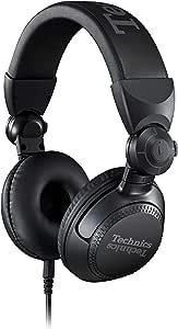 Technics 专业 DJ 耳机,带 40 毫米 CCAW 音圈驱动器,270° 旋转外壳和锁定可拆卸线缆;轻便、可折叠高输入 - EAH-DJ1200(黑色)