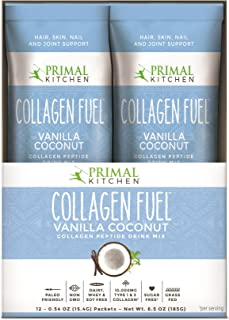 Primal Kitchen Collagen Fuel Protein On The Go Packets, Vanilla Coconut, 12 Count - Non-Dairy Coffee Creamer, Supports Hea...