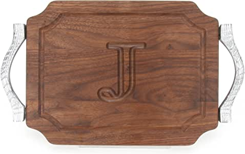 """CHUBBCO W300-RP-J Bar/Cheese Board with Rope Handle in Cast Aluminum with Scalloped Corners, 9-Inch by 12-Inch by 0.75-Inch, Monogrammed""""J"""", Walnut"""