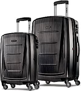 Samsonite 新秀丽 Winfield 2 可扩展硬壳2件装行李箱(20/28),带旋转轮,拉丝煤黑色