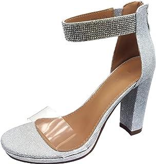 Harper Shoes 女式露趾水晶水钻踝带粗跟高跟凉鞋