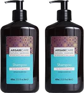 Arganicare 洗发露,浓缩有机摩洛哥坚果油和乳木果油。 13.5液 Oz.- 2 件装