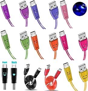 Foxy Fane 3 英尺/1M LED 平板防缠绕微型 USB 同步数据充电线带 LED 连接器兼容三星 Galaxy 手机、诺基亚 Sony 大部分安卓设备 3 件装