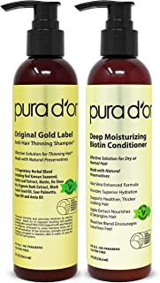 Pura D'or 生物素原始金标签防止稀疏洗发水和护发素套装,经过测试的有效解决方案,含草本成分,适合所有发质,男女(包装可能有所不同),(2 x 8盎司/236.6毫升)