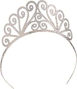 Glittered Tiara (silver) Party Accessory (1 count) (1/Pkg)