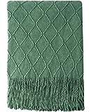 "Bourina 纹理纯色柔软沙发套针织装饰毯,127 cm x 152.4 cm 绿色 50""x60"" BORI-New-KnittedThrow-Green"