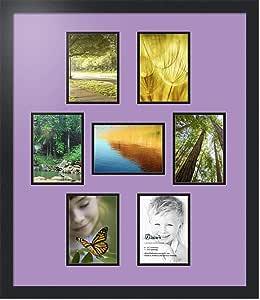 ArtToFrames 字母摄影相框 1-8x10 和 6-5x7 开口。 缎面黑框。 薰衣草喷雾 7-5x7 Double-Multimat-499-805/89-FRBW26079