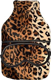 Cosy Cuddlesoft 羊毛豹纹印花软垫套 2L 热水瓶和眼罩礼品套装(盒装)