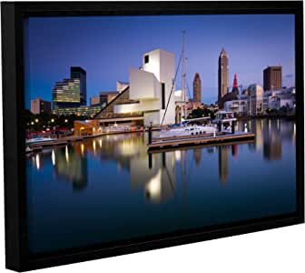 """ArtWall Cody York's Cleveland Skyline 1 Gallery Wrapped Floater Framed Canvas, 12 by 18"""""""