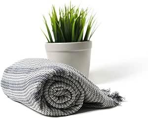 Ahenque Handloomed Peshtemal/土耳其浴巾,* 纯棉浴巾 浅灰色 35x76 7102228193090