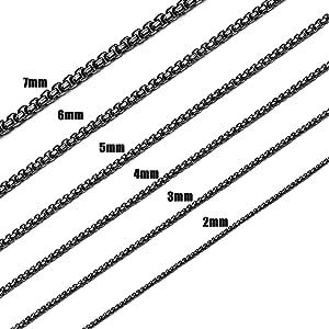 Jstyle 2-7mm 女士黑色项链 男式方形 Rolo 链项链 不锈钢项链首饰 40.64-81.28cm