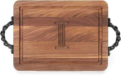 "CHUBBCO W200-STWS-I Thick Bar/Cheese Board with Twisted Square End Handle, 9-Inch by 12-Inch by 3/4-Inch, Monogrammed""I"", Walnut"
