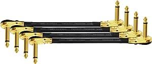 4 件装 - 9 英寸 - S 型踏板、效果、补丁、仪器电缆由 WORLDS BEST CABLES 定制 - 使用 Mogami 2524 线和 Eminence 镀金(6.35mm)R/A Pancake 型连接器