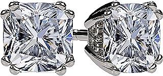 NANA 枕型耳钉施华洛世奇锆石 Silver & 14K 纯金 POST 0.60克拉总重–4.00总重重量