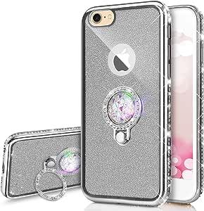 PHEZEN iPhone 8 手机壳,iPhone 7 手机壳,奢华闪闪耀 TPU 手机壳,镀铬钻石水钻软硅胶橡胶保护壳,带 360 个环形支架,金色 iPhone 7/iPhone 8 闪光银色