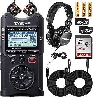 Tascam DR-40X 四轨数字音频录音机和 USB 音频接口套装,配有 Tascam TH-02 工作室耳机和 Sandisk Ultra 64GB 存储卡,包括 2 个 Mophead XLR 电缆和领带