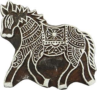 """手工雕刻印章木制印刷大象装饰积木陶器邮票 Brown-2 4"""" L X 4.5"""" W Inches PB2264A"""