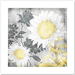"""Casa Fine Arts 灰色阳光木材纹理乡村风格花卉档案艺术印刷品,25.4 厘米 x 25.4 厘米,金色 金色 20"""" x 20"""" 48000"""